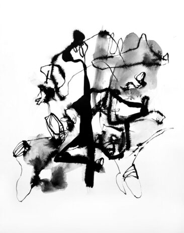 Ink #1, Ink on Watercolor paper, 62 cm x 78